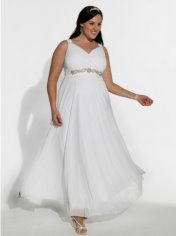 Chiffon plus size wedding dress, Igigis white diamonds
