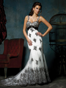 beautiful black and white wedding dress Mia Solano