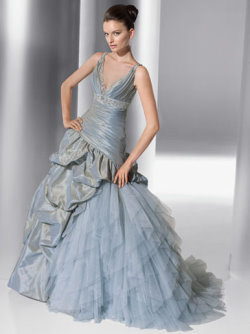 Demetrios blue wedding dress