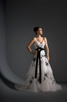 black and white wedding dress 8399 Justin Alexander
