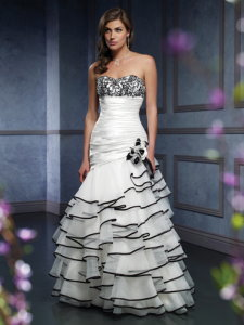 ruffle black and white wedding dress Mia Solano