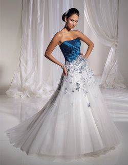 mon cheri blue wedding dress