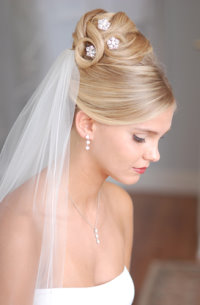 updo bridal hair style with veil