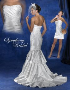 convertible wedding dress, detachable train, symphony bridals