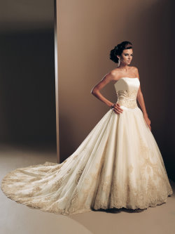 gold wedding dress Mon Cheri