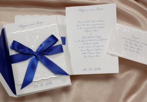 birchcraft invitations with blue bows