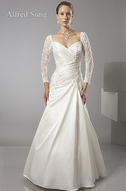 alfred sung long sleeved wedding dress