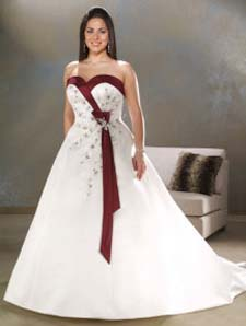 burgandy and white wedding dress plus size, bonny plus size