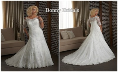 bonny long sleeve plus size wedding dress