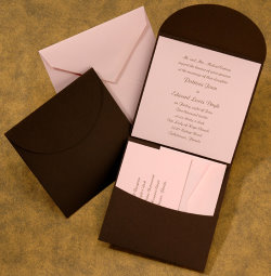 pocket wedding invitations brown and rose