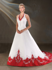 red and white wedding dress, bonny bridals