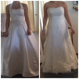 redesign wedding dress neckline and hem