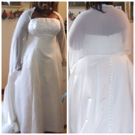 wrap attached to wedding dress