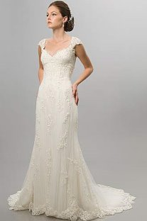 second wedding dress, cap sleeves