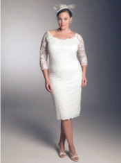 short lace plus size wedding dress