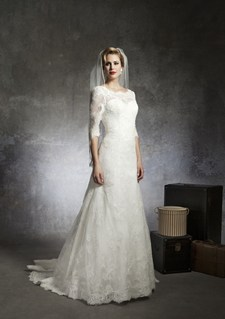 justin alexander long sleeve wedding gown