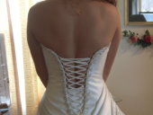 corset wedding dress, partial modesty panel