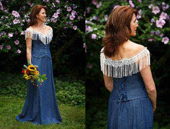 rentoblue jean denim western wedding dress