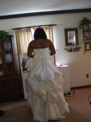 french bustle with pick up style wedding dress