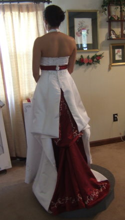 wedding dress with color french busltle