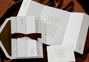 birchcraft invitation with chocolate bow