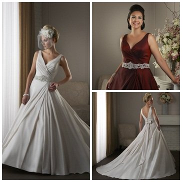 Three pictures of V-neck a-line wedding dresses