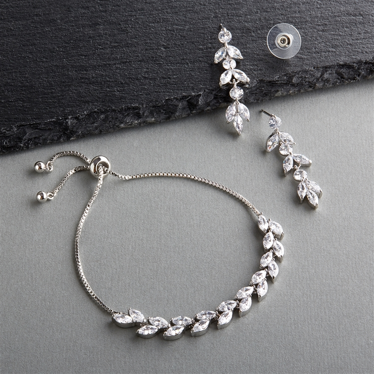 mariell silver crystal bracelet and earring set