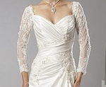 Long three quarter sleeve wedding gown for mature bride