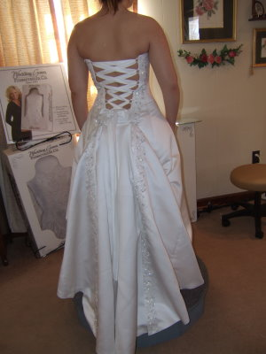 This Wedding Gown Had Panel Flaps With Embroidery Edging Them I Managed To Bustle So That The Embroidered Showed