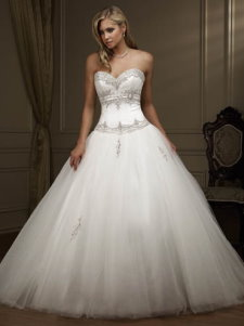 Dropped waist ball gown wedding dress